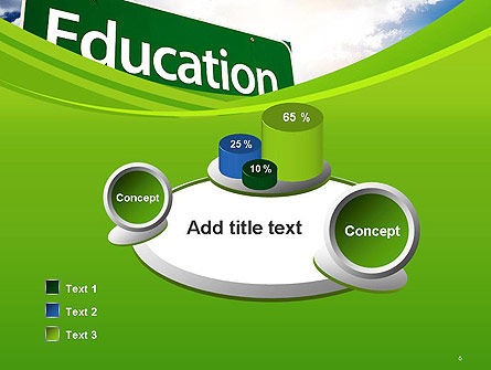 Education Just Ahead Green Road Sign PowerPoint Template Slide 6