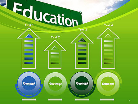 Education Just Ahead Green Road Sign PowerPoint Template Slide 7