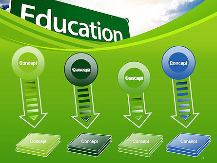 Education Just Ahead Green Road Sign PowerPoint Template Slide 8