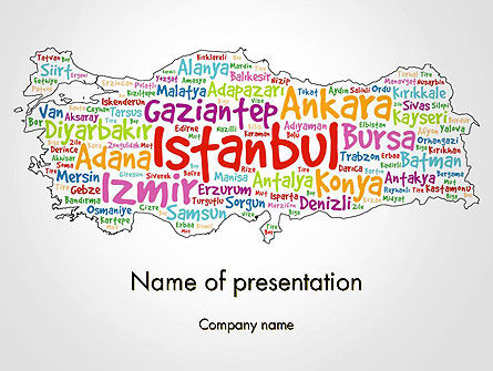 Flags/International: Turkish Cities Word Cloud PowerPoint Template #14228
