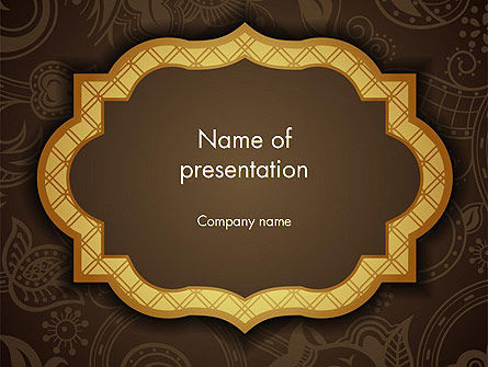 Gold Border Floral Pattern PowerPoint Template