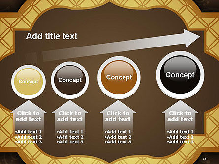 Gold Border Floral Pattern PowerPoint Template Slide 13