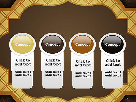Gold Border Floral Pattern PowerPoint Template Slide 5