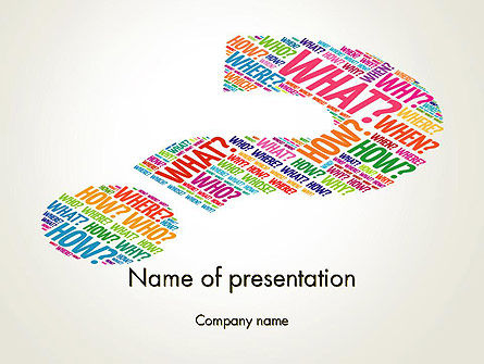 Education & Training: Question Mark with Curiosity Questions PowerPoint Template #14233