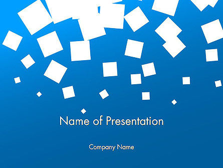 White Flat Squares on Blue PowerPoint Template