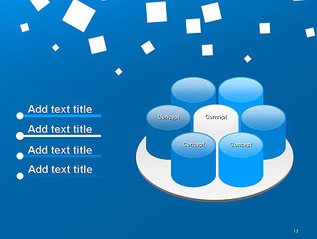 White Flat Squares on Blue PowerPoint Template Slide 12