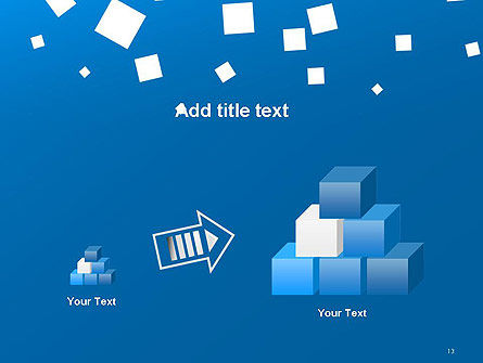 White Flat Squares on Blue PowerPoint Template Slide 13