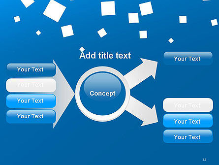 White Flat Squares on Blue PowerPoint Template Slide 15
