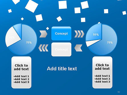 White Flat Squares on Blue PowerPoint Template Slide 16