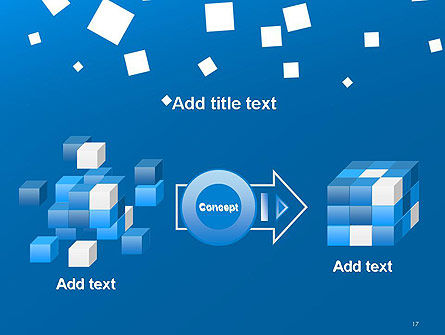 White Flat Squares on Blue PowerPoint Template Slide 17