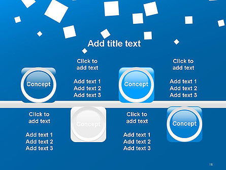 White Flat Squares on Blue PowerPoint Template Slide 18