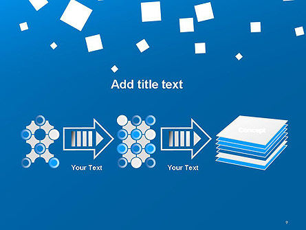 White Flat Squares on Blue PowerPoint Template Slide 9