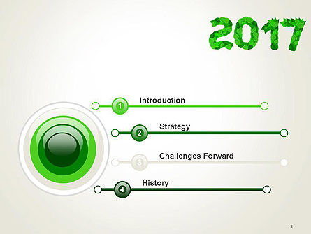 Year 2017 Made from Green Leaves PowerPoint Template Slide 3