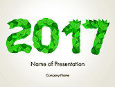 Nature & Environment: Year 2017 Made from Green Leaves PowerPoint Template #14241