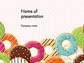 Food & Beverage: Templat PowerPoint Donat Warna-warni #14245