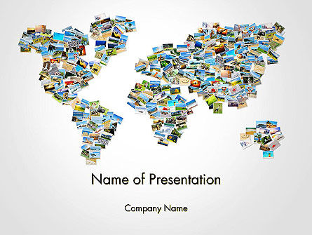 Photos Placed as World Map Shape PowerPoint Template