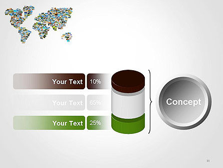Photos Placed as World Map Shape PowerPoint Template Slide 11