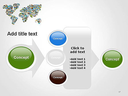Photos Placed as World Map Shape PowerPoint Template Slide 17
