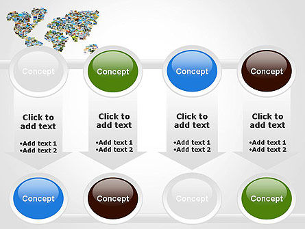 Photos Placed as World Map Shape PowerPoint Template Slide 18