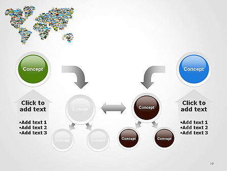 Photos Placed as World Map Shape PowerPoint Template Slide 19