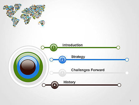 Photos Placed as World Map Shape PowerPoint Template, Slide 3, 14246, Global — PoweredTemplate.com