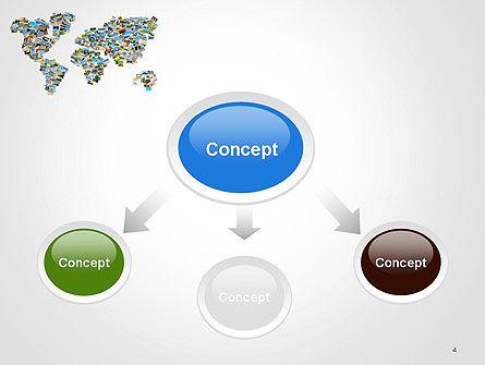 Photos Placed as World Map Shape PowerPoint Template, Slide 4, 14246, Global — PoweredTemplate.com