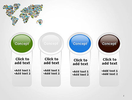 Photos Placed as World Map Shape PowerPoint Template Slide 5