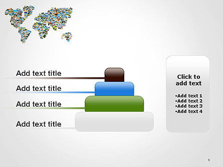 Photos Placed as World Map Shape PowerPoint Template Slide 8