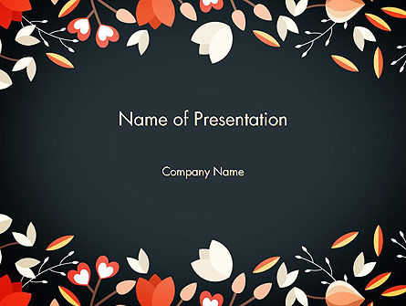 Art & Entertainment: Floral Border PowerPoint Template #14250