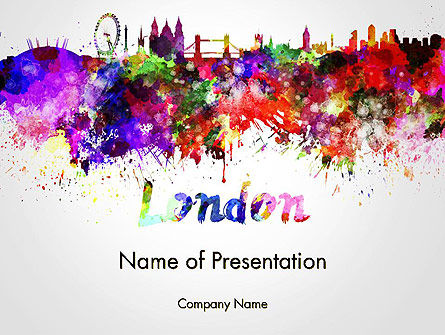 London Skyline in Watercolor Splatters PowerPoint Template, 14251, Art & Entertainment — PoweredTemplate.com