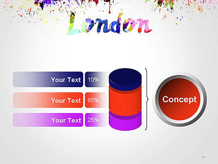 London Skyline in Watercolor Splatters PowerPoint Template Slide 11