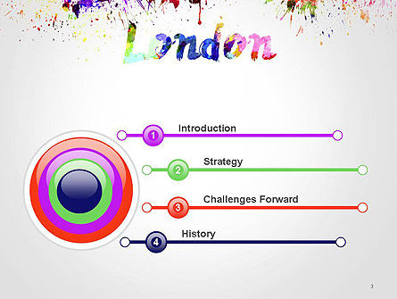 London Skyline in Watercolor Splatters PowerPoint Template, Slide 3, 14251, Art & Entertainment — PoweredTemplate.com