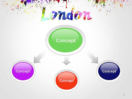London Skyline in Watercolor Splatters PowerPoint Template, Slide 4, 14251, Art & Entertainment — PoweredTemplate.com