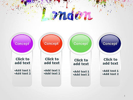 London Skyline in Watercolor Splatters PowerPoint Template Slide 5