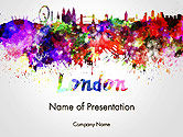 Art & Entertainment: London Skyline in Watercolor Splatters PowerPoint Template #14251