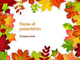 Nature & Environment: Fall Leaves Border Frame PowerPoint Template #14255