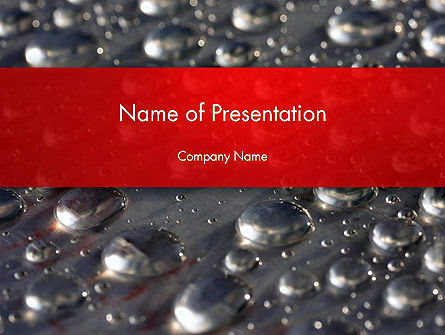 Water Drops on Metal Surface PowerPoint Template, 14260, Abstract/Textures — PoweredTemplate.com