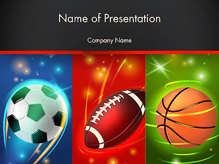 Sports: Soccer Rugby and Basketball Balls PowerPoint Template #14264