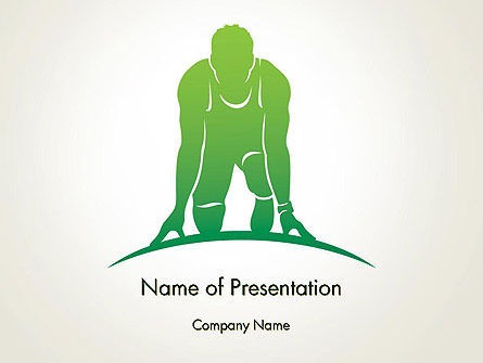 3D: Man Athlete Silhouette in Starting Position PowerPoint Template #14269