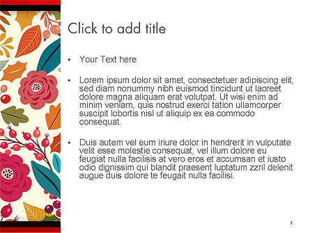 Colorful Leaf and Berry Pattern PowerPoint Template, Slide 3, 14270, Nature & Environment — PoweredTemplate.com