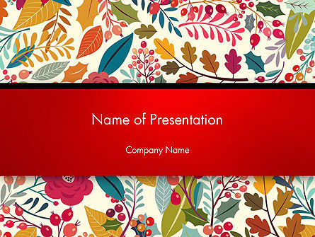 Nature & Environment: Colorful Leaf and Berry Pattern PowerPoint Template #14270