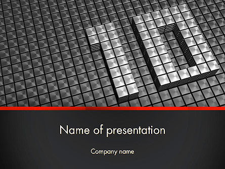 Holiday/Special Occasion: Silver Shiny Ten Year Anniversary PowerPoint Template #14271
