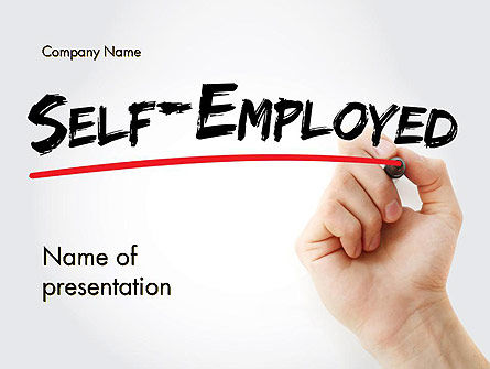 Hand Writing Self-Emplyed with Marker PowerPoint template, 14272, Careers/Industry — PoweredTemplate.com