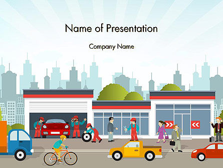 Car Service PowerPoint Template, 14280, Cars and Transportation — PoweredTemplate.com