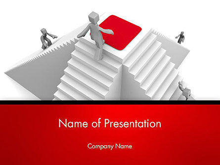 Businessmen Climbing a White Pyramid PowerPoint Template