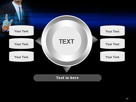 Businessman Pressing Virtual Buttons PowerPoint Template Slide 12