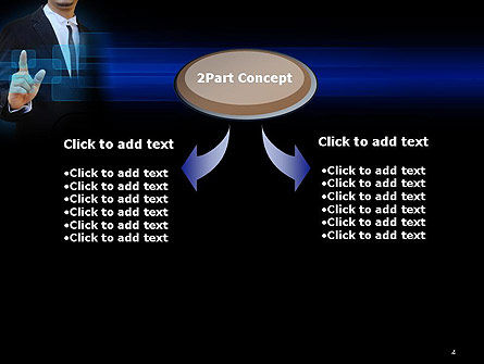 Businessman Pressing Virtual Buttons PowerPoint Template, Slide 4, 14283, Business Concepts — PoweredTemplate.com