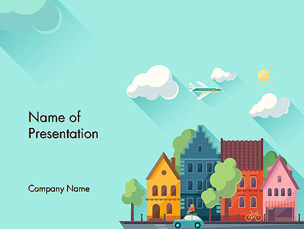Construction: Town Illustration PowerPoint Template #14286