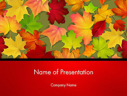 Red and Yellow Autumn Leaves PowerPoint Template