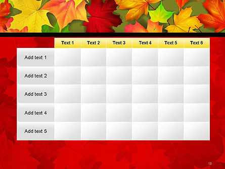Red and Yellow Autumn Leaves PowerPoint Template Slide 15